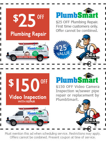 $25 off plumbing repair, $150 off video inspection